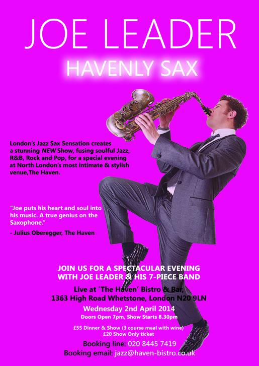 Joe Leader 'Havenly Sax' Jazz Night @ The Haven Bistro & Bar