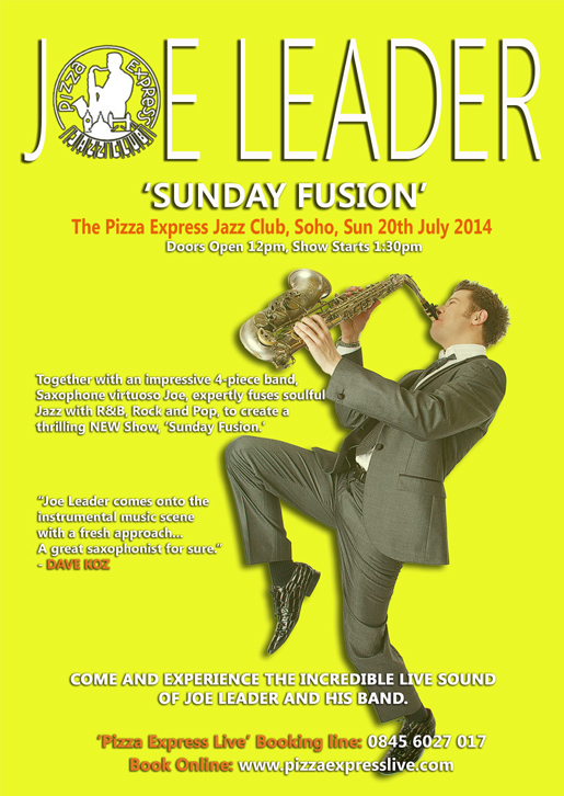 Joe Leader event flyer - 20th July 2014 gig